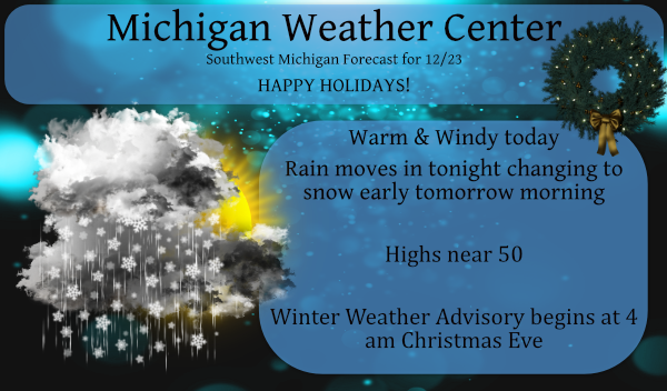 Warm Today – Cold Tomorrow – Winter Weather Advisory